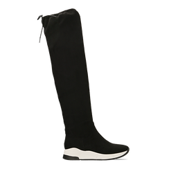 Sneakers overknee nere con suola bianca, Scarpe, 129367116MFNERO, 001 preview