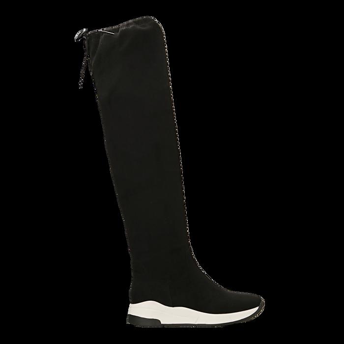 Sneakers overknee nere con suola bianca, Scarpe, 129367116MFNERO