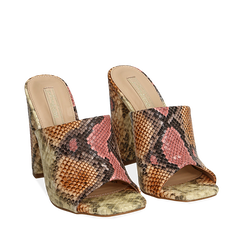 Mules rosa/beige in eco-pelle snake print, tacco 10,50 cm, Chaussures, 152709445PTRSBE036, 002a