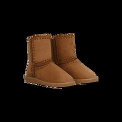Scarponcini invernali scamosciati color cuoio , Scarpe, 125001041MFCUOI036, 002