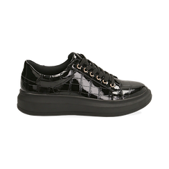 Sneakers nere in vernice effetto coccodrillo, suola 4 cm , Scarpe, 142019051VENERO037, 001 preview