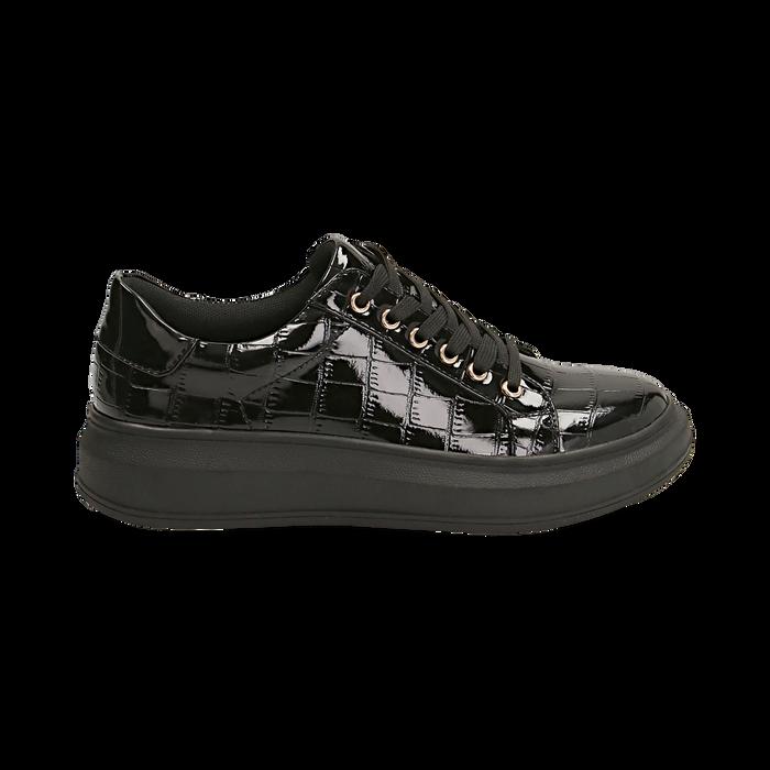 Sneakers nere in vernice effetto coccodrillo, suola 4 cm , Scarpe, 142019051VENERO035