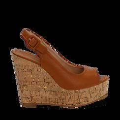Sandali platform cuoio in eco-pelle, zeppa in sughero 12 cm , Primadonna, 134907982EPCUOI035, 001a