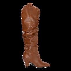 Stivali cuoio sopra il ginocchio, tacco cono 8 cm, Scarpe, 124995700EPCUOI, 001 preview