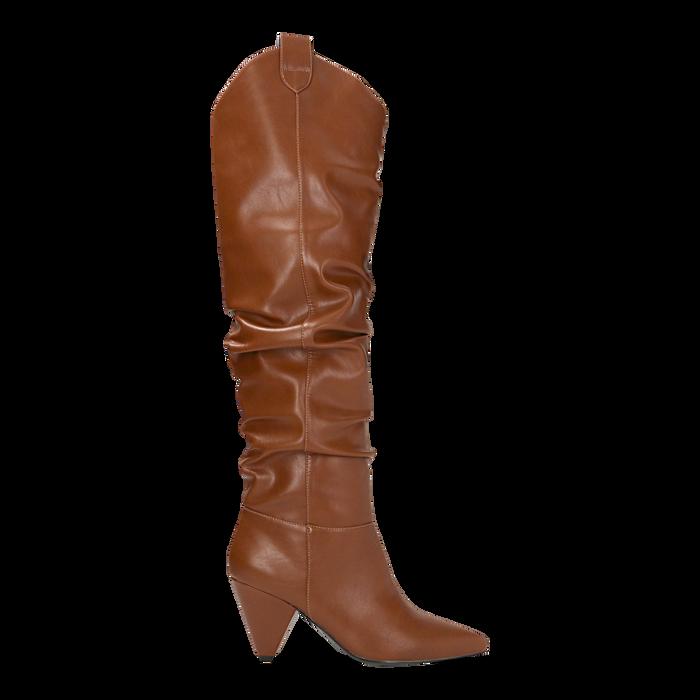 Stivali cuoio sopra il ginocchio, tacco cono 8 cm, Scarpe, 124995700EPCUOI
