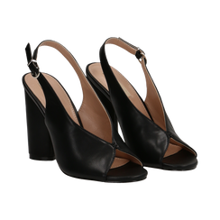 Slingback nere open-toe in eco-pelle, tacco 10 cm, Primadonna, 132708372EPNERO036, 002 preview