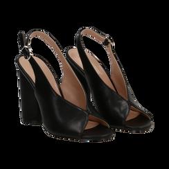 Slingback nere open-toe in eco-pelle, tacco 10 cm,