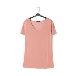 T-shirt con scollo a V nude in tessuto, Primadonna, 13F750713TSNUDEL, 001a