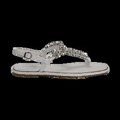 Sandali bianchi in pelle con strass, Primadonna, 136200941PEBIAN036, 001 preview