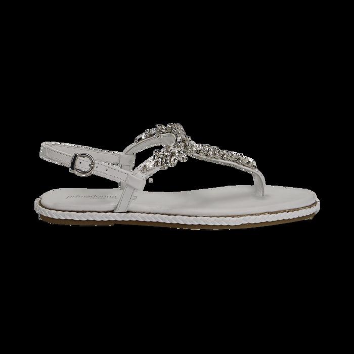 Sandali bianchi in pelle con strass, Primadonna, 136200941PEBIAN036