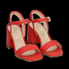 Sandalo corallo in eco-pelle, tacco 8 cm, Sandali con tacco, 136119006EPCORA038, 002a