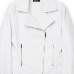 Biker jacket bianca in eco-pelle, Primadonna, 136501161EPBIANL, 002a