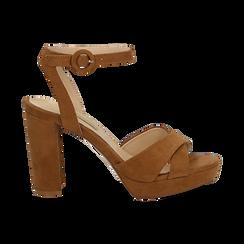 Sandali marroni in microfibra con fasce incrociate, tacco a colonna 10,5 cm, Scarpe, 132118585MFMARR036, 001 preview
