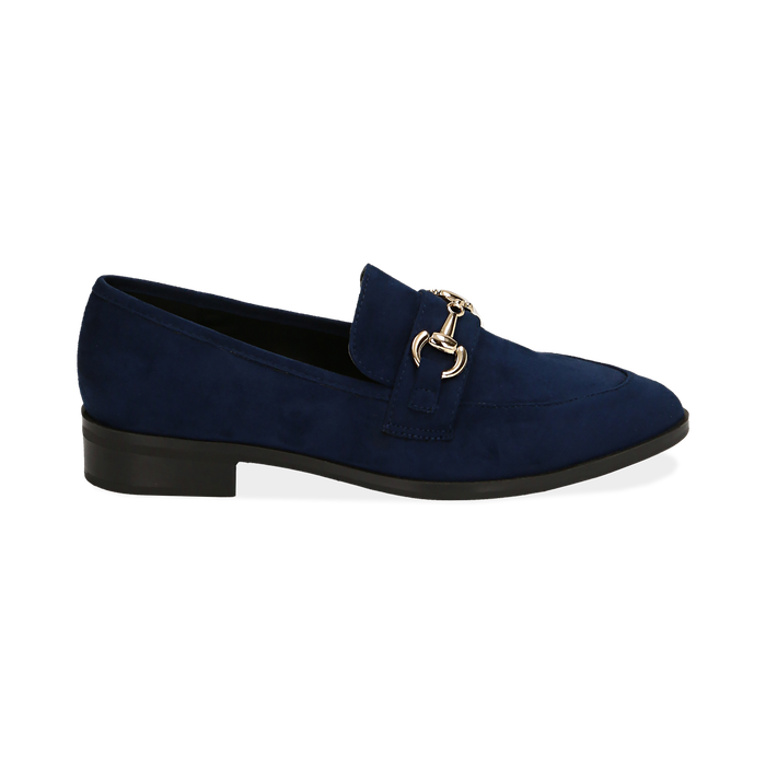 Mocassini blu in microfibra, Scarpe, 164964141MFBLUE035