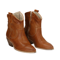 Stivali Texas traforati cuoio in vitello , Scarpe, 138900077VICUOI037, 002a
