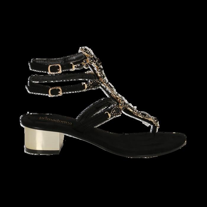 Sandali gioiello infradito neri in microfibra, tacco 6 cm, Primadonna, 134986238MFNERO036
