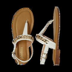 Sandali infradito bianchi in eco-pelle con catenella, Primadonna, 134988163EPBIAN, 003 preview