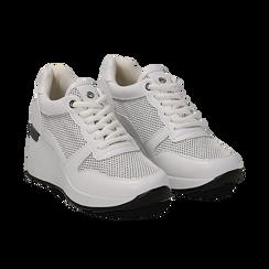 Sneakers bianche in eco-pelle con zeppa, Scarpe, 132008360EPBIAN036, 002 preview