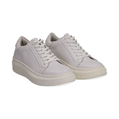 Sneakers bianche in eco-pelle con suola flat, Scarpe, 132019051EPBIAN036, 002 preview