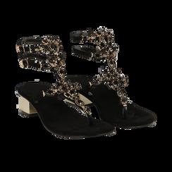 Sandali gioiello infradito neri in microfibra, tacco 6 cm, Primadonna, 134986238MFNERO036, 002 preview