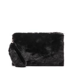 Pochette nera in eco-fur, Borse, 14B443016FUNEROUNI, 001a