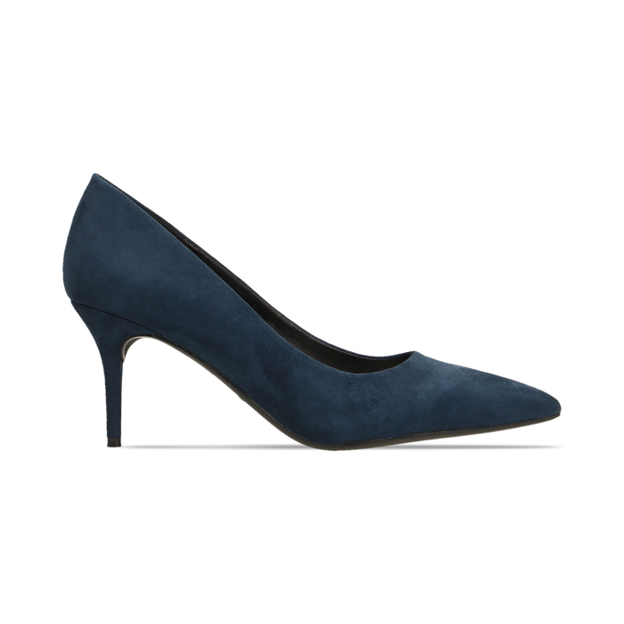 Décolleté scamosciate blu con punta affusolata, tacco medio 7,5 cm, Scarpe, 122111552MFBLUE