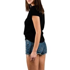 T-shirt nera in cotone con stampa, Abbigliamento, 15I700449TSNEROL, 002a