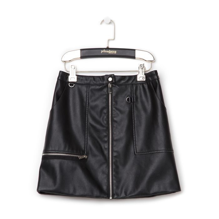 Minigonna nera in eco-pelle con zip, Primadonna, 136501801EPNEROL