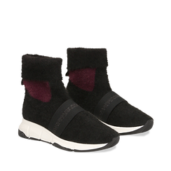 Sneakers nero-rosse sock boots con suola in gomma bianca, Primadonna, 124109763TSNERS036, 002a