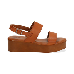 Sandali platform cuoio in eco-pelle, zeppa 5 cm , Saldi Estivi, 13A133254EPCUOI039, 001 preview