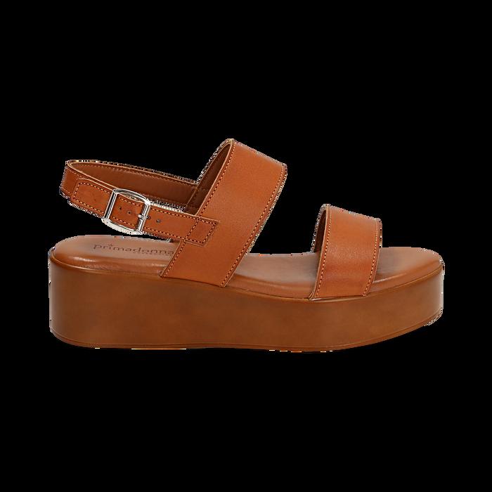 Sandali platform cuoio in eco-pelle, zeppa 5 cm , Saldi Estivi, 13A133254EPCUOI039