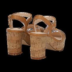 Sandali cuoio in eco-pelle, tacco in sughero 9 cm, Primadonna, 138402256EPCUOI036, 004 preview