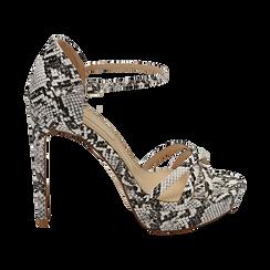 Sandalias en eco-piel con estampado de serpiente color blanco/negro, tacón 12,50 cm , OPORTUNIDADES, 152118123PTBINE036, 001 preview