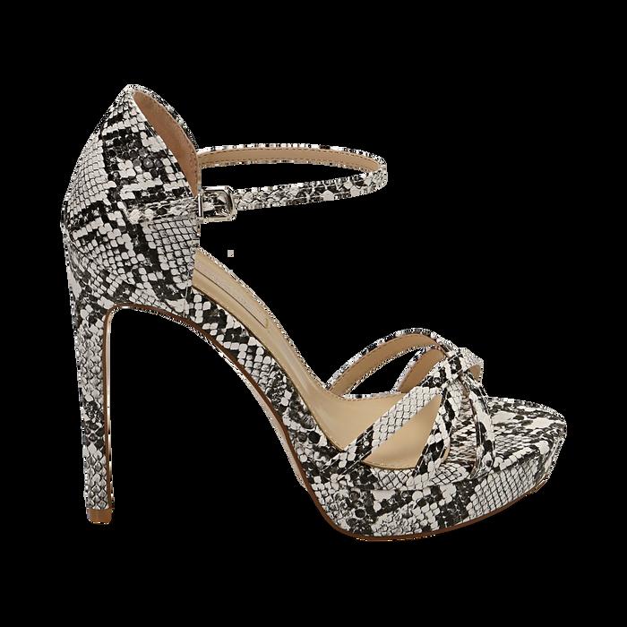 Sandalias en eco-piel con estampado de serpiente color blanco/negro, tacón 12,50 cm , OPORTUNIDADES, 152118123PTBINE036