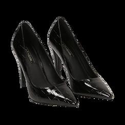 Décolleté nere in vernice a punta, effetto coccodrillo, tacco 10 cm , Scarpe, 141755292VENERO036, 002 preview