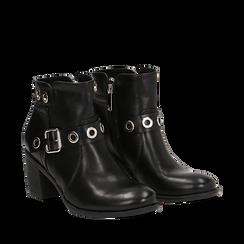 Ankle boots neri in eco-pelle con oblò, tacco 7 cm, Scarpe, 130682986EPNERO035, 002a