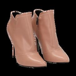 Ankle boots nude in eco-pelle, tacco 10, 50 cm , Scarpe, 142146864EPNUDE036, 002a