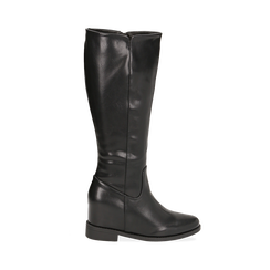 Stivali neri in eco-pelle con zeppa interna, tacco 3 cm , Primadonna, 149721229EPNERO041, 001a