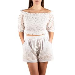 Shorts bianchi in tessuto , 150503108TSBIANUNI, 001a