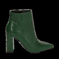 Ankle boots verdi stampa cocco, tacco 9,5 cm , Stivaletti, 142186672CCVERD036, 001a