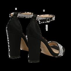 Sandali neri in raso con mini cristalli, tacco 10,5 cm, Scarpe, 132150553RSNERO035, 004 preview