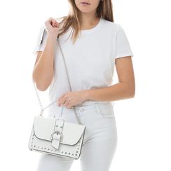 Borsa piccola bianca in eco-pelle con borchie, Borse, 132300503EPBIANUNI, 002a