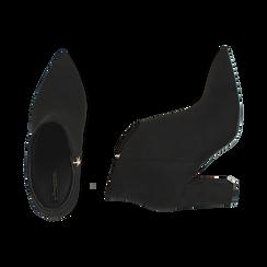 Ankle boots en microfibre noir, talon 9 cm, Promozioni, 164916101MFNERO036, 003 preview