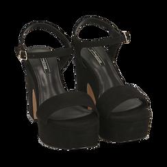 Sandali neri in microfibra, tacco zeppa 11 cm, Scarpe, 154968033MFNERO, 002 preview