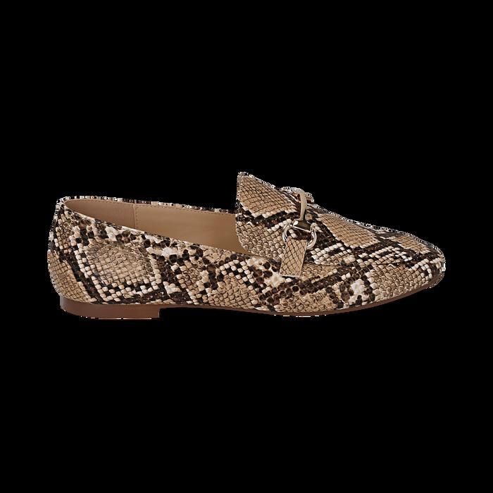 Mocassins beige simili cuir imprimés python, Chaussures, 154939181PTBEIG036