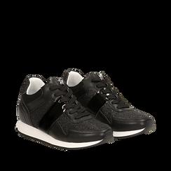 Sneakers glitter nere con dettaglio mirror, 132899414GLNERO035, 002a