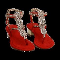 Sandalias en microfibra con pedrería color coral, tacón 3,5 cm , OPORTUNIDADES, 154927101MFCORA036, 002 preview