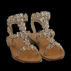 Sandali gioiello oro in eco-pelle laminata, Chaussures, 154921933LMOROG038, 002a