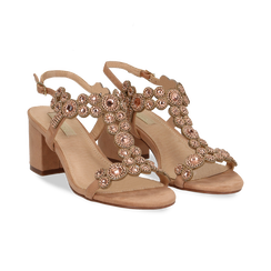 Sandali con strass nude in microfibra, tacchi 6,50 cm, Primadonna, 134956321MFNUDE035, 002 preview
