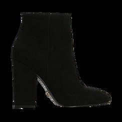 Tronchetti neri con punta stondata, tacco 10 cm, Scarpe, 122196916MFNERO040, 001 preview